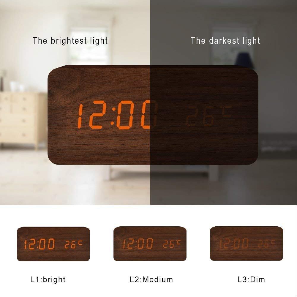 Queta LED Wood Alarm Clock Digital Alarm Clock Table Clock Date Temperature Humidity Display 12 / 24Hours (Brown)