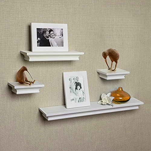 AHDECOR Floating Shelves White, Ledge Wall Shelf, Super Sturdy, Easy to Install, 2 Photo Frames Inclouded (4 Inches Deep, Set of 4 pcs)