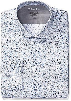 Calvin Klein Men's Dress Shirts Xtreme Slim Fit Thermal Stretch Splatter Print