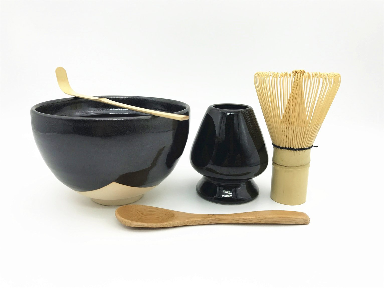 CHAQI 5 Items Matcha Ceremony Start Up Kit:Bamboo Whisk,Spoon & Scoop,Ceramic Matcha Bowl and Whisk Holder-Complete Matcha Gift Set (Black 1)