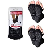 Toeless Yoga Socks, 2 Pairs Set, Pilates, Barre, Dance, Non Slip Anti Skid Socks, Half Toe Sock with Grip