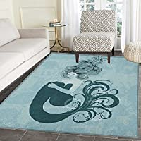 Mermaid Rugs for Bedroom Sleeping Mermaid Design With Wavy Hair Hand Drawn Effect Grungy Backdrop Circle Rugs for Living Room 4x6 Pale Blue Dark Teal