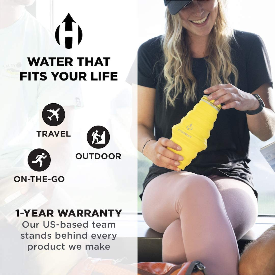 25oz Cap Lid Food-Grade Silicone Ultra-Packable Bluebird Travel-Friendly HYDAWAY Collapsible Water Bottle