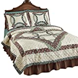 Charlotte Wedding Ring Bedroom Quilt, Chocolate, King