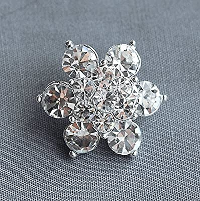 "10 Round 7/8"" (22mm) Diamante Crystal Rhinestone Button Hair Flower Comb Wedding Invitation Bouquet Jewelry Ring BT048"