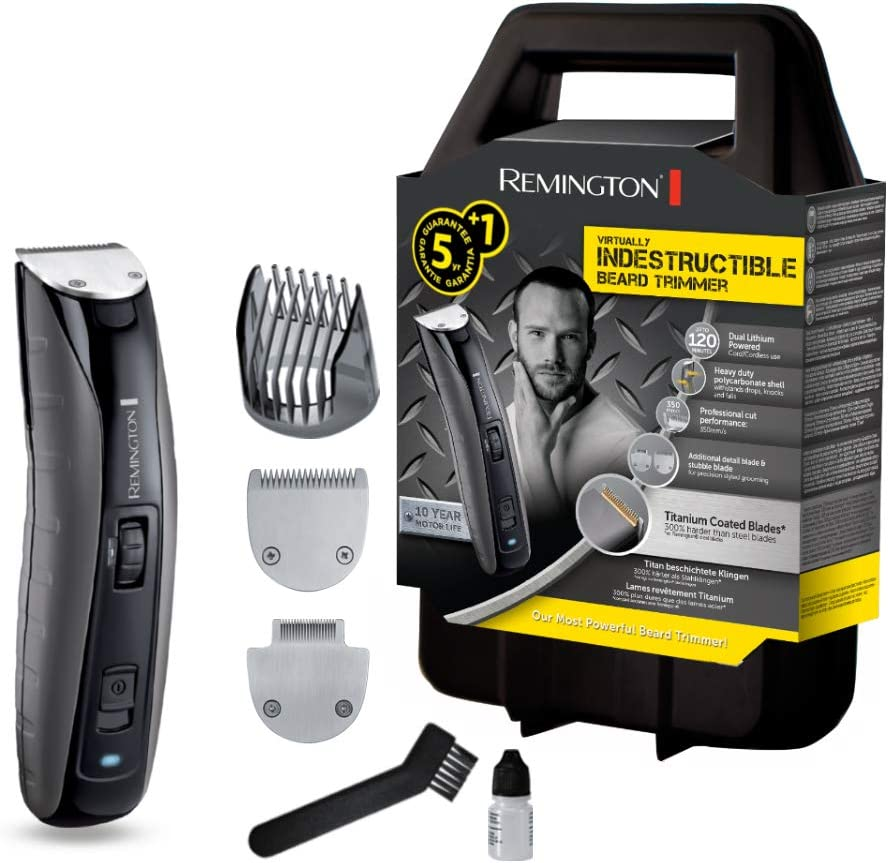 Remington MB4850 Virtually Indestructible - Recortador de barba, cuchillas revestidas de titanio, cuerpo de policarbonato, corte de calidad profesional 350 mm/s