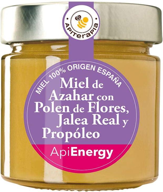 Apiterapia - Miel ApiEnergy - Miel cremosa de Azahar con Polen de Flores, Jalea Real y Propóleo - Miel Origen España - 300 g: Amazon.es: Alimentación y bebidas