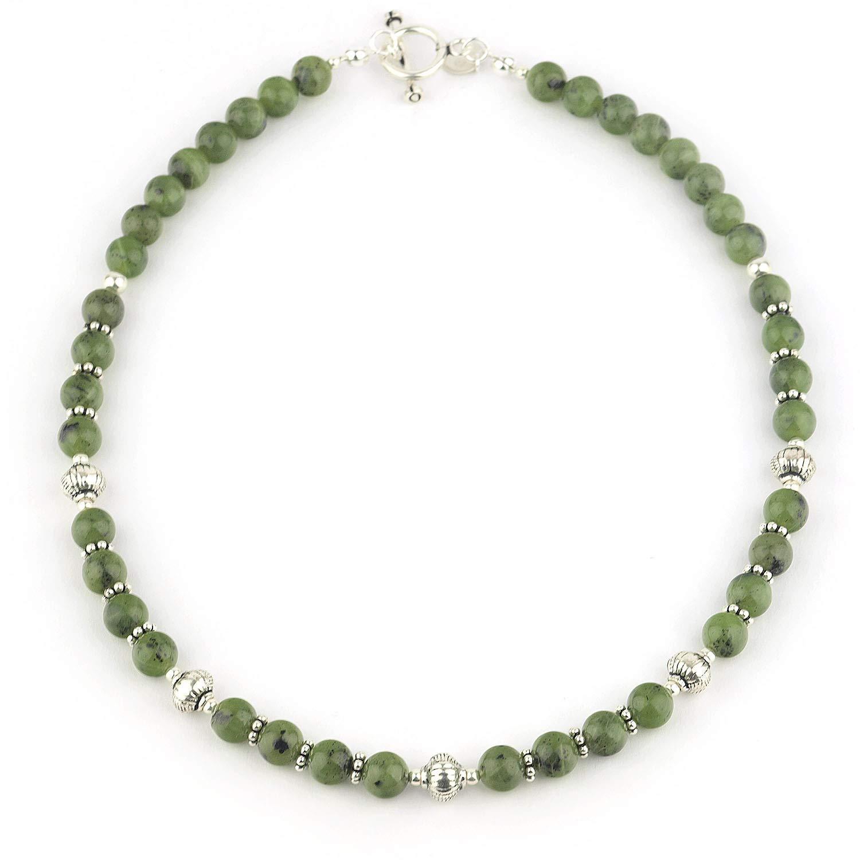 collier argenté 47 cm avec pendentif perle verte