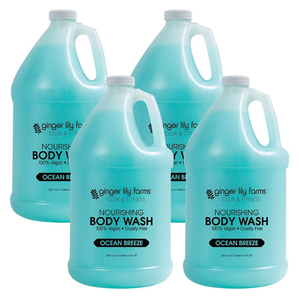 Ginger Lily Farms Club & Fitness Ocean Breeze Nourishing Body Wash, Softens, Nourishes and Cleans Skin, 100% Vegan and Cruelty-Free, 1 Gallon (Case of 4)