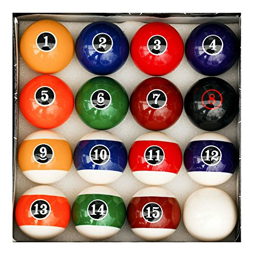 Modern Style Ball Set (Modern Style Pool Table Billiard Ball Set W Red Circle # 8 Ball)