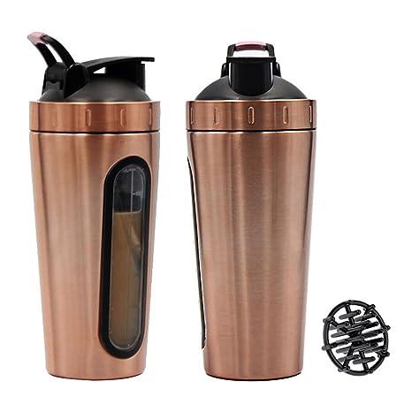 VANKER Botella de agua de acero inoxidable para deportes de proteínas, batidora de leche,
