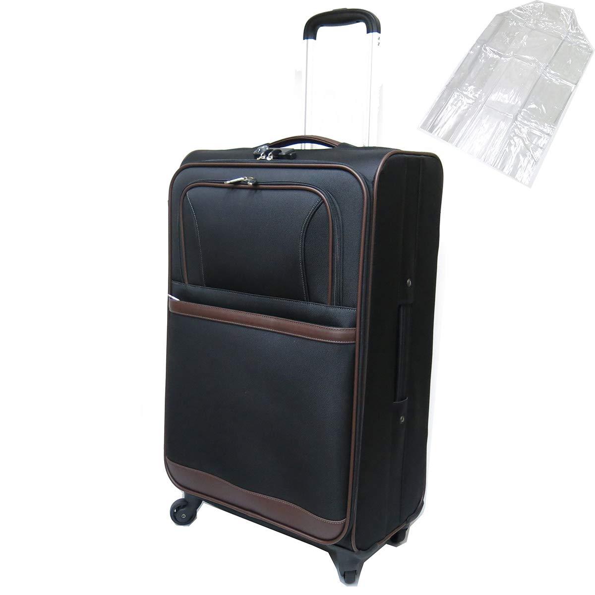 [セット品] (ビバーシェ) Vivache SP-R2-L ソフトキャリーケース 空港受託手荷物無料サイズ 縦型 4輪キャスター透明スーツケースカバー 【合計2点セット】  ブラック B07L89W63K