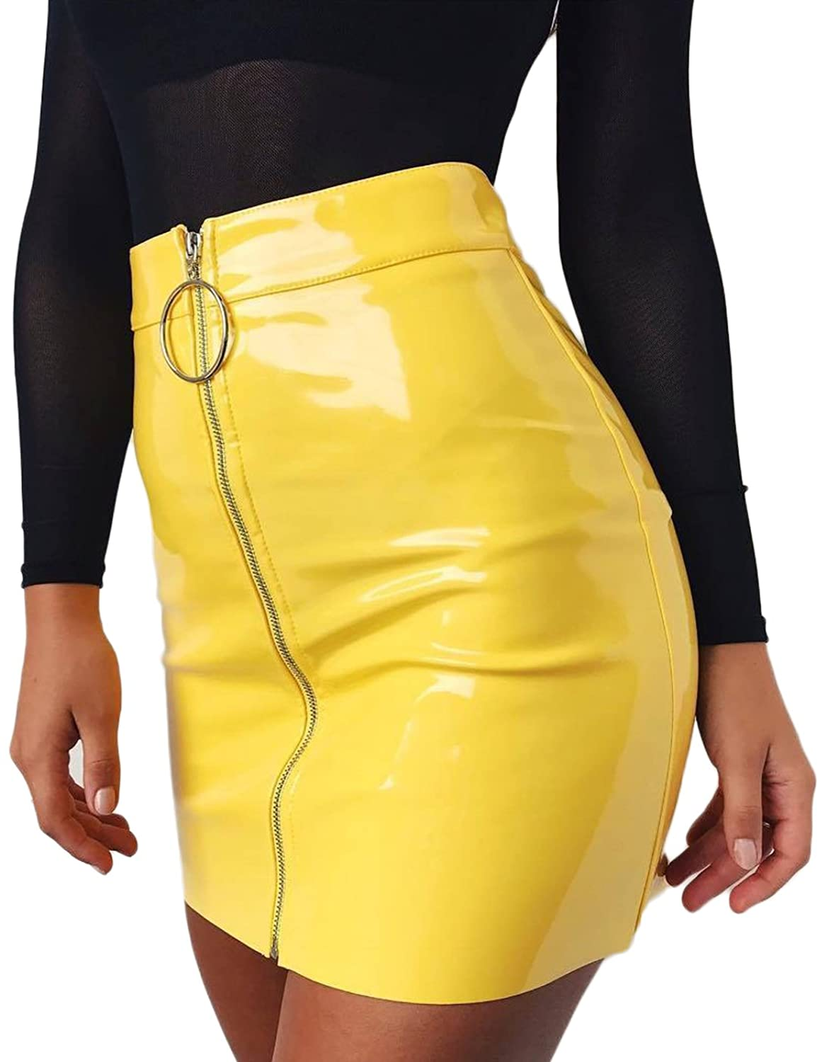 Lichene Women's Sexy High Waist Liquid Metallic Pu Faux Leather Bodycon Front Zipper Mini Skirts by Lichene