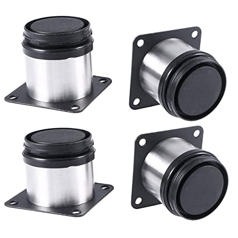 Mengger Patas para Muebles Inoxidable Cocina Armario Redondo Regulables  Metal Set de 4 Pies Patas somier (50 * 100mm)