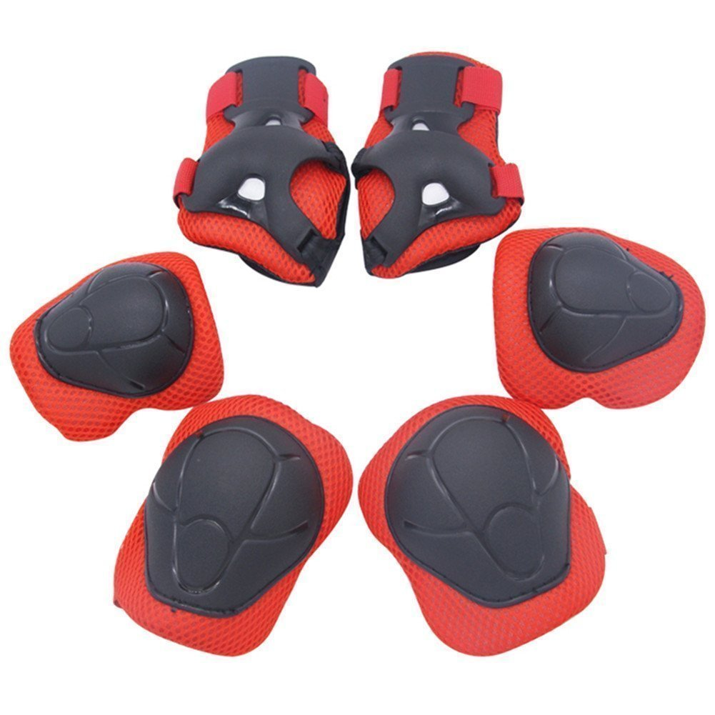 Dostar Kid's Adjustable Safety Protective Gear Set - Children Knee Pads Elbow Roller Wrist Guards for Skating Cycling and Other Outdoor Sports as Birthday Pack of 6 by Dostar