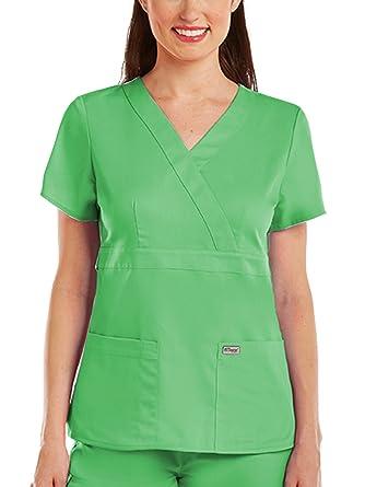 Amazon Greys Anatomy 4153 Womens Mock Wrap Top Apple Xs Clothing