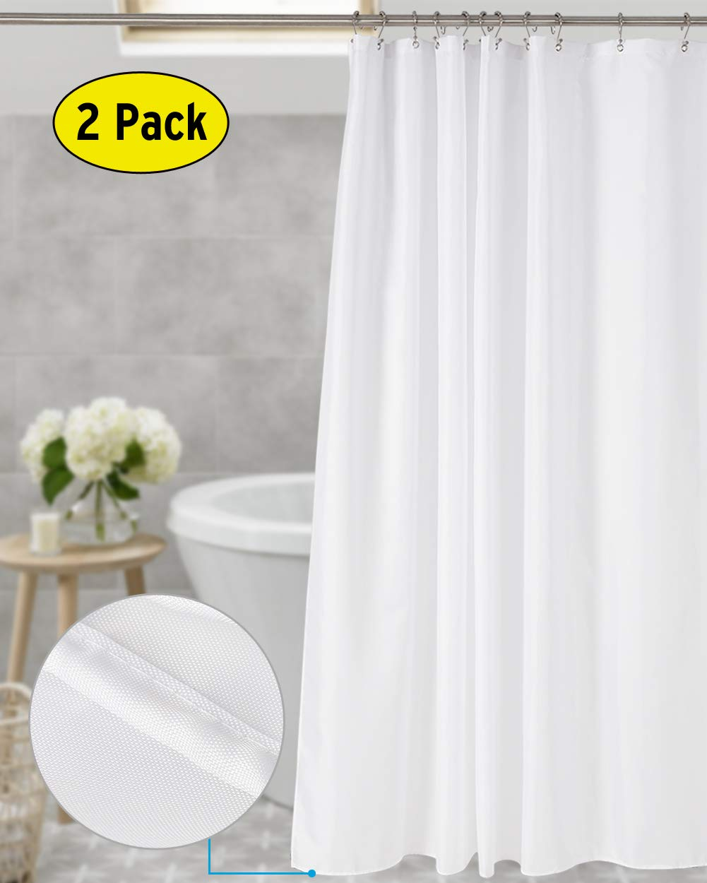 Amazer 2 Pack Shower Curtain White Polyester Fabric Liner Hotel Quality Bathroom