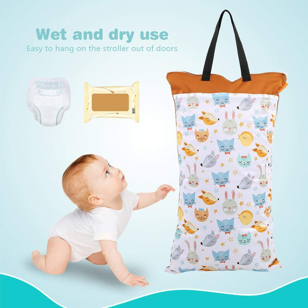 Zerodis Baby Wet//Dry Bag Large Capacity Waterproof Cloth Diaper Nappy Pouch with