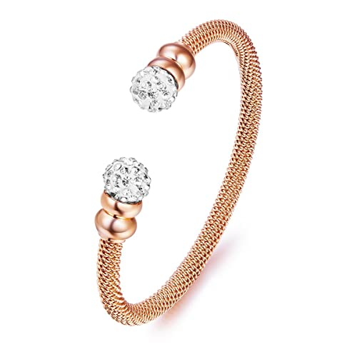 Amazon.com  HOWIE Jeweley Bracelet Stainless Steel Open Cuff with Swarovski Crystals  Love Bracelets 18K Rose Gold 619981cf91b3