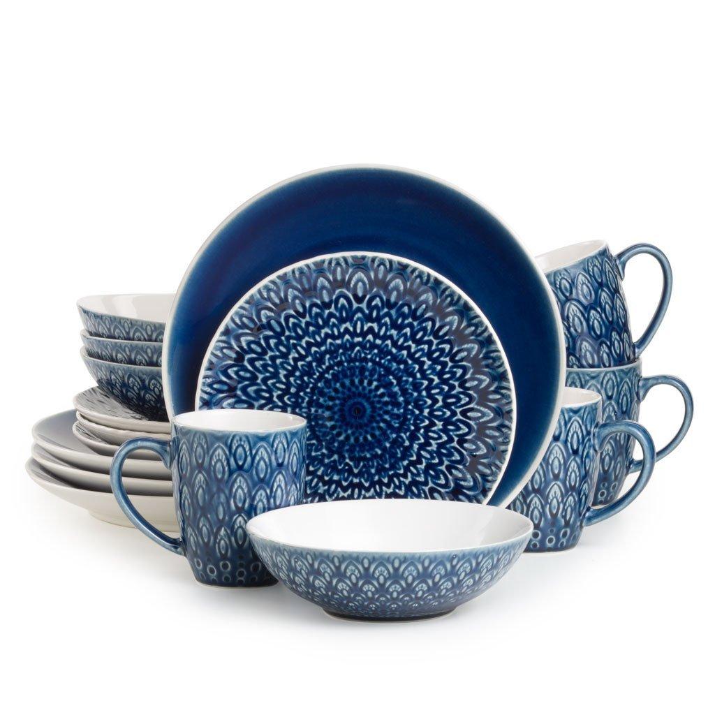 EuroCeramica 16ピーコックディナー食器セット ブルー PK-18405-RB B06XG6HMKD ブルー ブルー