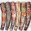 Yariew 6pcs Temporary Tattoo Sleeves, 6pcs Set Arts Temporary Fake Slip On Tattoo Arm Sleeves Kit Style 1