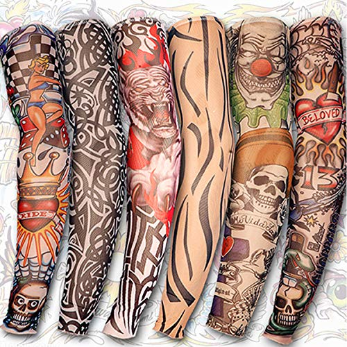 Yariew 6pcs Temporary Tattoo Sleeves, 6pcs Set Arts Temporary Fake Slip On Tattoo Arm Sleeves Kit -