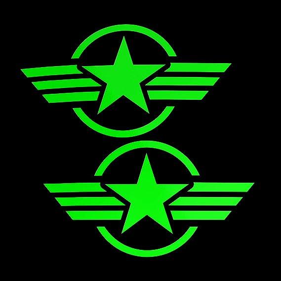 Erreinge Aufkleber Prespaced Fluogrün 12cm X2 Sterne Military Army Army Aufkleber Aufkleber Aufkleber Wandvinyl Laptop Auto Moto Helm Camper Baumarkt