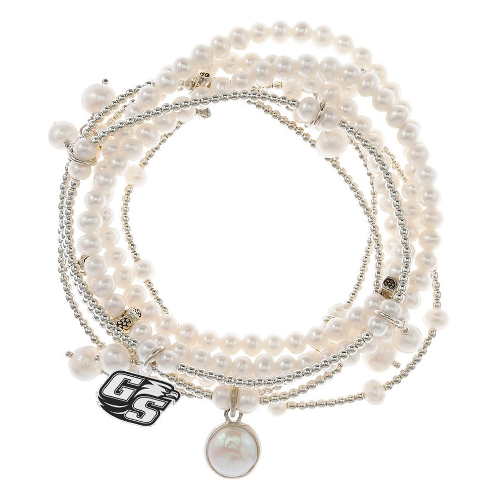 Georgia Southern Eagles 7 Strand Freshwater Pearl and Silver Bracelet