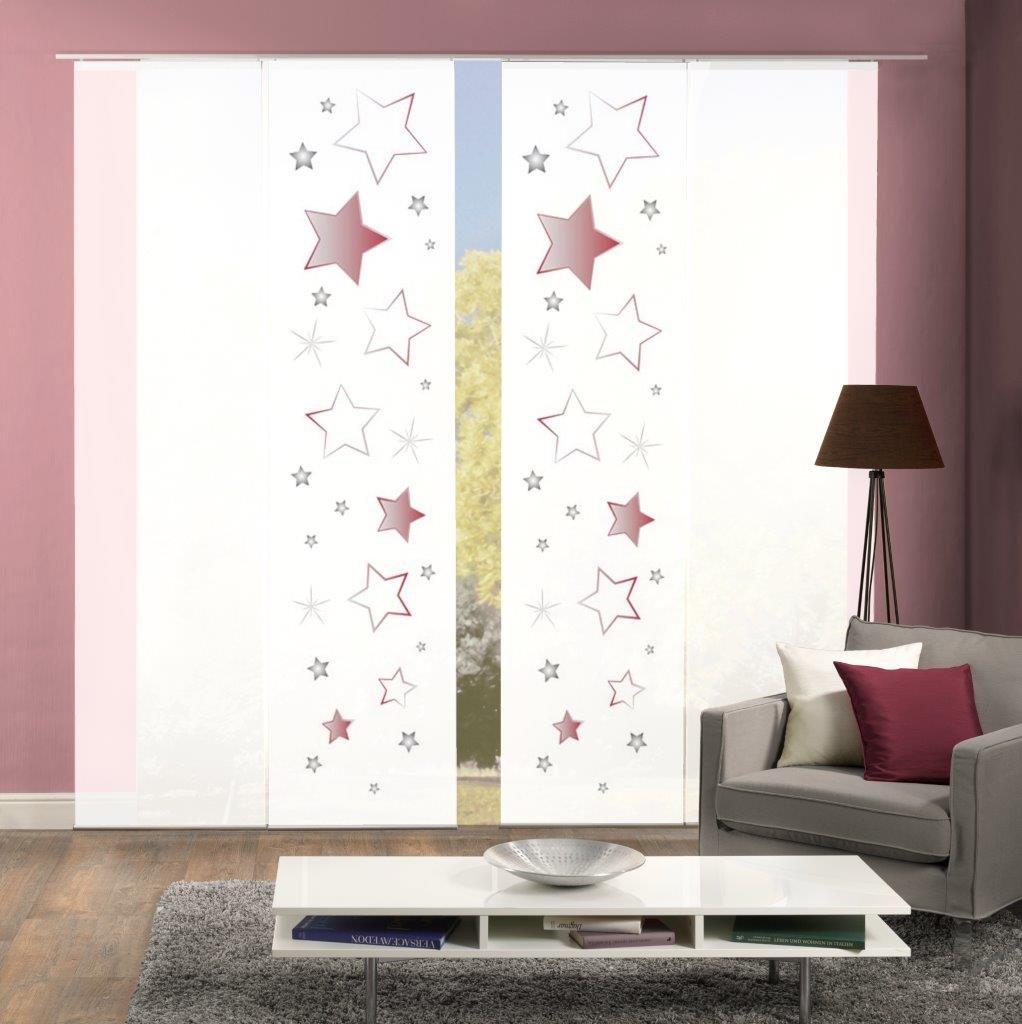 Home Fashion Weihnachtliches 4er-Set Flächenvorhänge STARS, optimal aufeinander abgestimmt, inkl. hochwertigem Zubehör