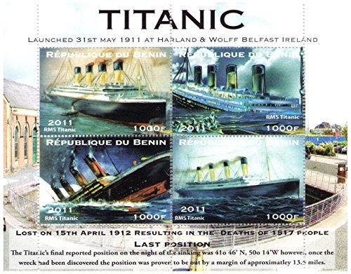 (Titanic Souvenir Sheet of 4 perforated stamps for collectors - Paintings of Titanic - Republique du Benin / 2011 / 4 values / MNH)