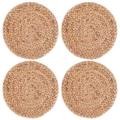 Yesland 4 Pack 11.8'' Rattan Tablemats - Natural Round Braided Water Hyacinth Weave Placemat - No-Slip Wooden Heat Resistant Mats for Table, Coasters, Pots, Pans & Teapots in Kitchen (Round Placemats Wicker)