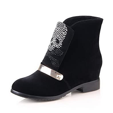 VogueZone009 Womens Round Closed Toe High Heels PU Short Plush Solid Bootss with Metal Buckles Platform