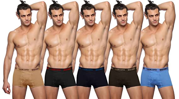 Lux Cozi BIGSHOT Assorted Men's Cotton Trunks (Pack of 5) Men's Underwear Trunks at amazon