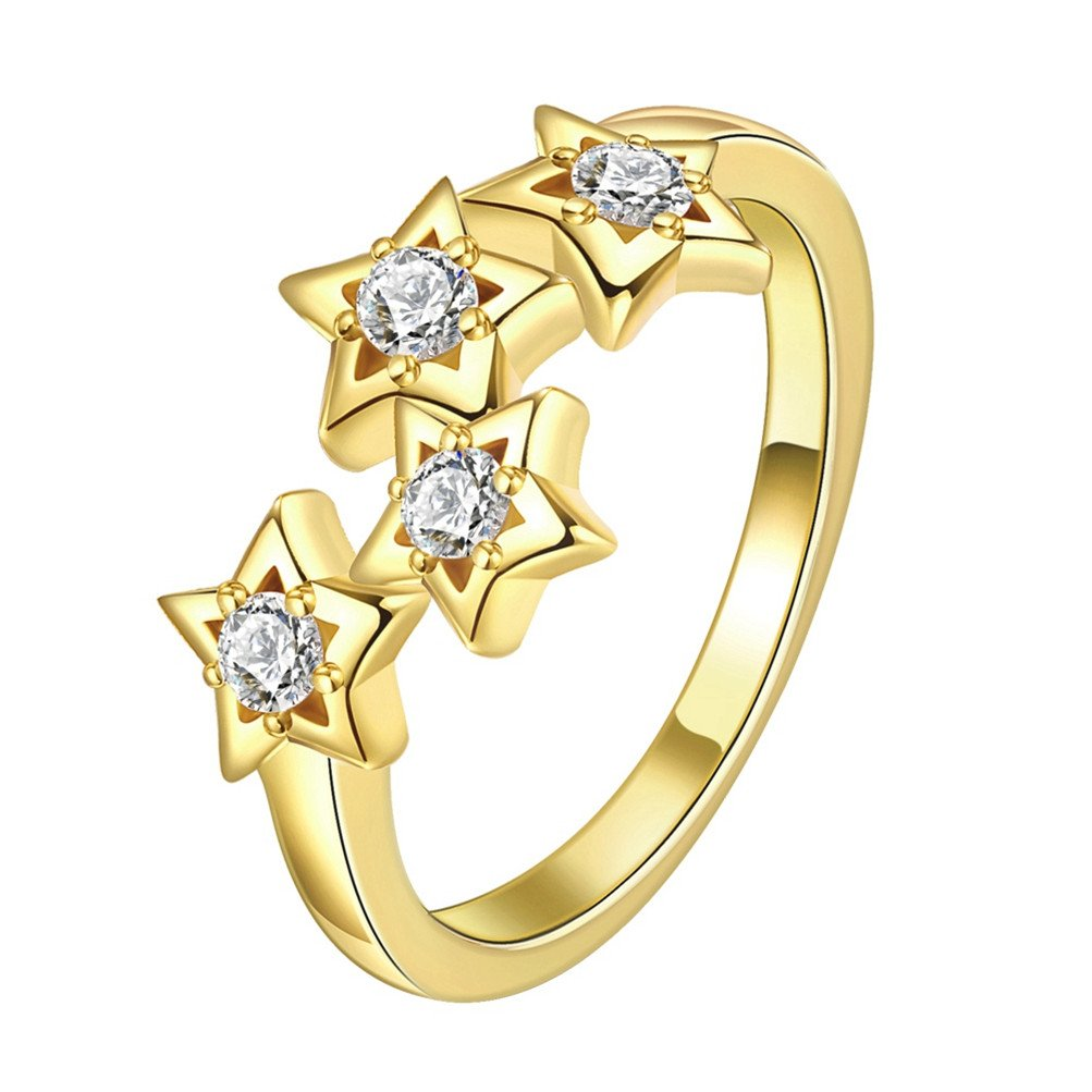 Mrsrui Star Crystal Statement Ring Gold Plated Jewelry Gift for Girls Austrian Crystal