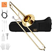 Eastar ETB-330 Bb Tenor Trombone Brass Standard Student Beginner Trombone with Hard Case Mouthpiece Cleaning Kit & Care Kit