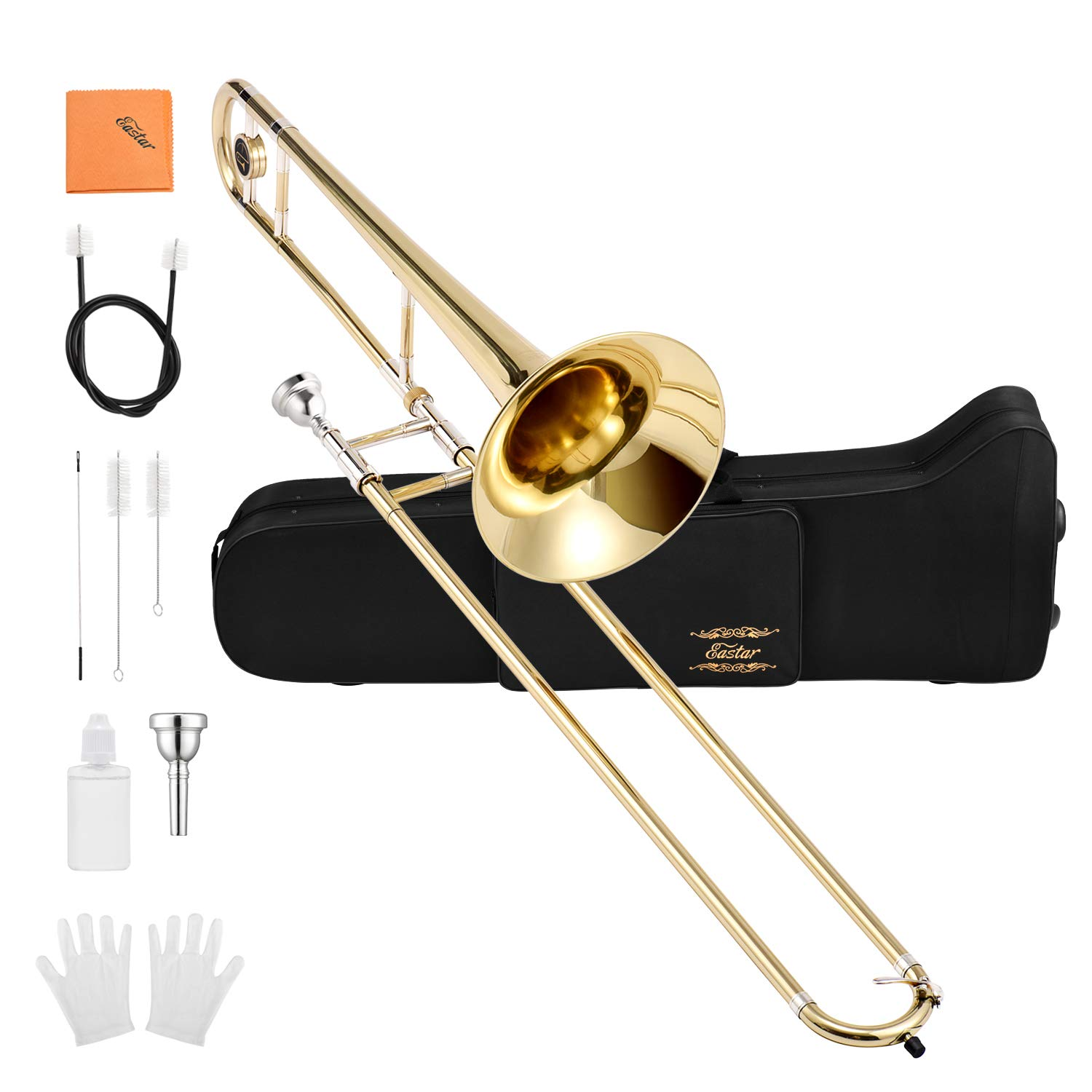 Eastar ETB-330 Bb Tenor Trombone Brass with Hard Case Mouthpiece Cleaning Kit & Care Kit Standard Student Beginner Trombone by Eastar (Image #1)