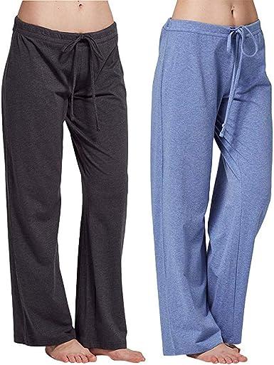 2PC Pantalones de Pijama de Algodón Elástico para Mujer Pantalones Deportivos de Yoga Simples Pantalones de Elástico para Mujer Pantalón de Chándal Joggers de Pierna Recta Deportes: Amazon.es: Ropa y accesorios