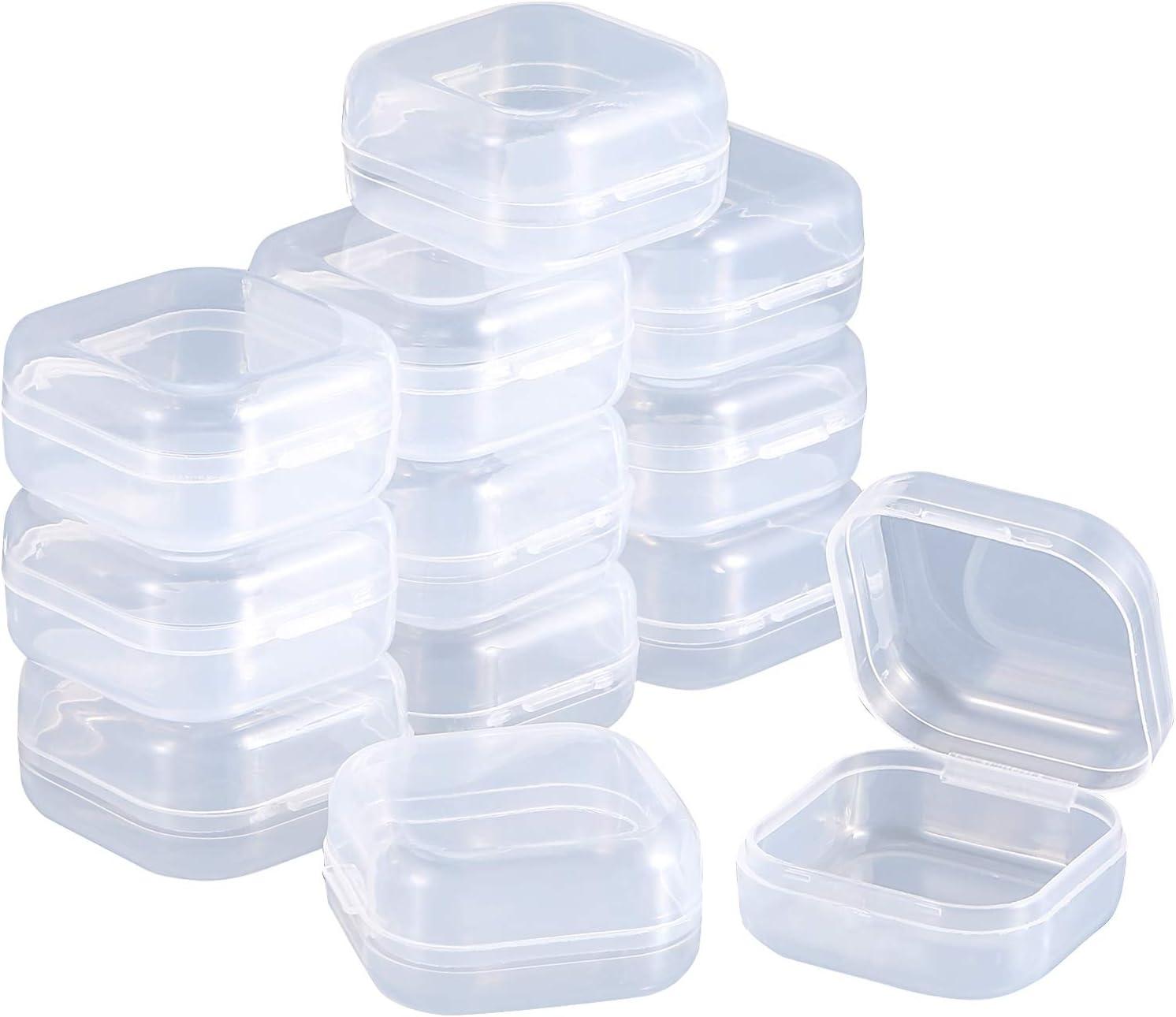 transparent SATINIOR Satior Aufbewahrungsbox f/ür Perlen Kunststoff 1.37 x 1.37 x 0.7 Pouces mit Scharnierdeckel f/ür Perlen und mehr