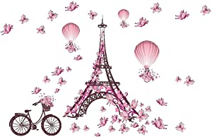 Home Find (Pink 39 inches x 26 inches) Paris Eiffel Tower Bicycle Butterflies Wall Stickers Wedding Room Living Room Bedroom Girls Room Wall Decals Removable Self Adhesive Vinyl Murals Home Decor
