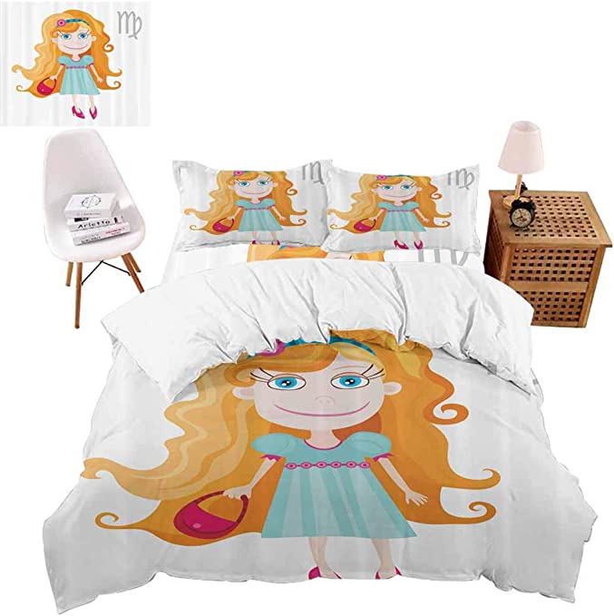 Cute Cartoon Double Bed Size Duvet Cover Bed Sheet 4 pcs Bedding Set