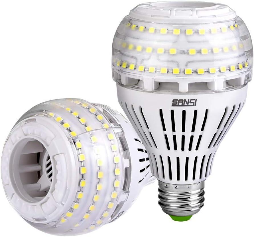 SANSI Bombilla LED E27 Luz Fria 5000K, 27W Bombillas LED(250W Euivalente), 4000 Lumenes, A21 Regulable Paquete de 2