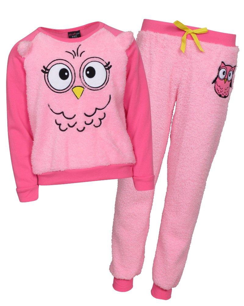 'dELiAs Girls Sherpa Animal Pajama Sleepwear Sets, Pink Owl, Size 7/8'