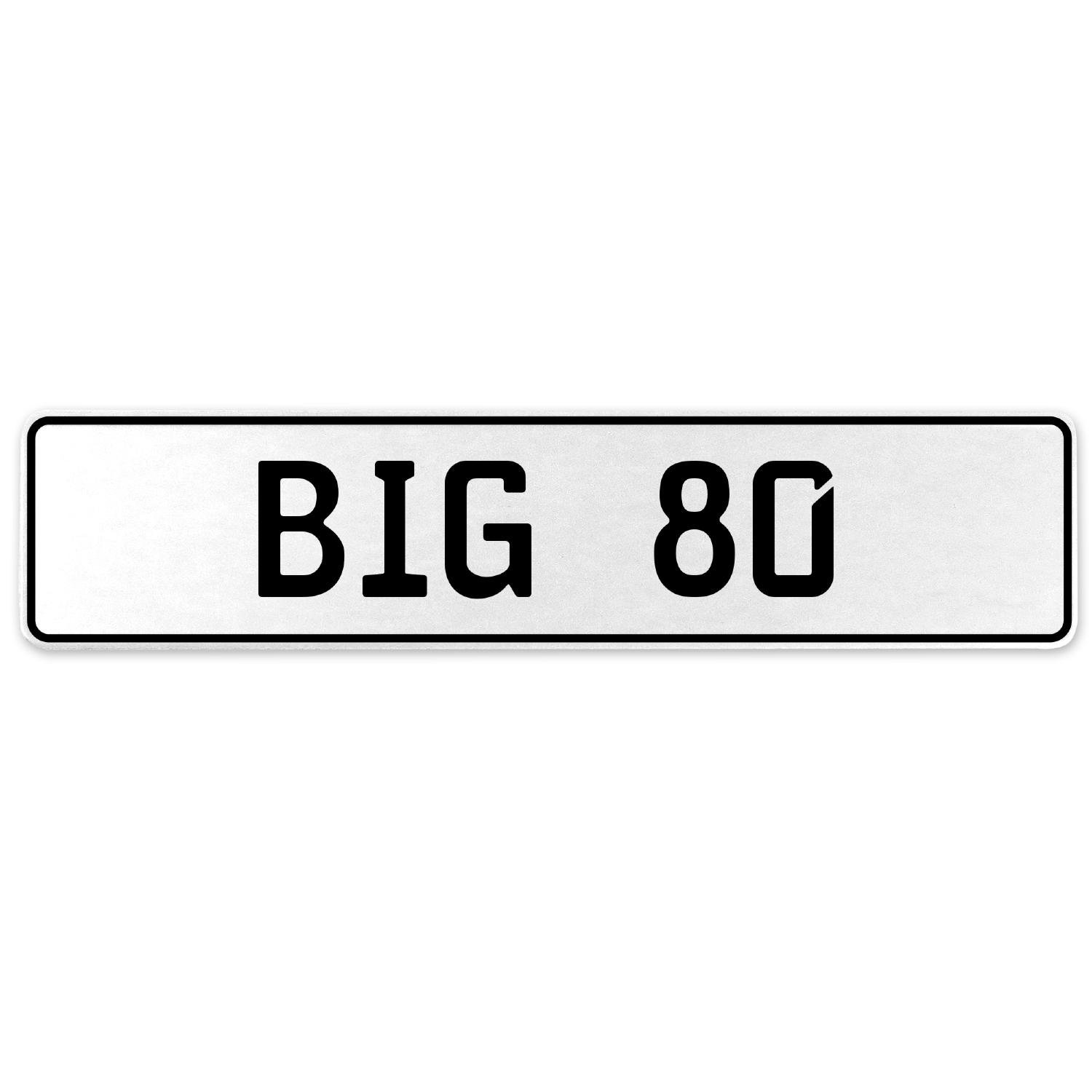 Vintage Parts 556459 Big 80 White Stamped Aluminum European License Plate