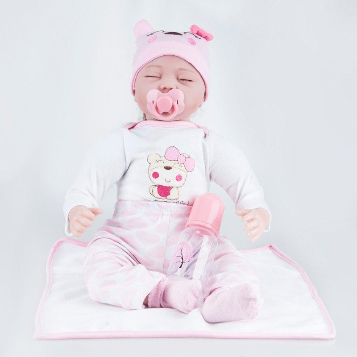 22 Pulgadas Reborn Baby Dolls Realista Hecho A Mano De Silicona Recién Nacido Muñeca Realista De Simulación Suave Eyes Cerrado Girl Favorite Gift