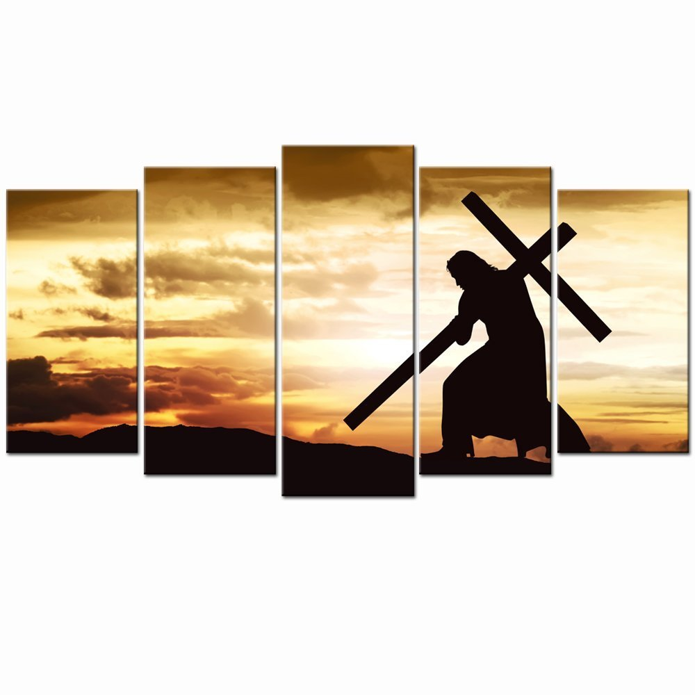 Live Art Decor - Large Canvas Print Wall Art Silhouette of Jesus Carry Cross on the Hill Picture Prints Gallery Wrap Ready to Hang Modern Home Decor,Sincere Belief by Live Art Decor