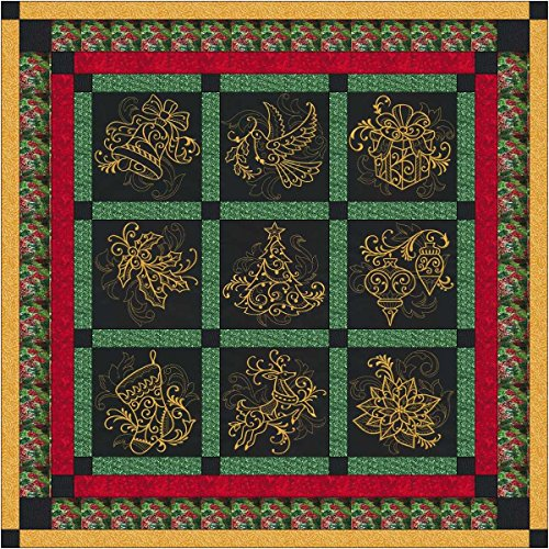 Quilt Kit Christmas Elegance/Pre Cut Ready To Sew/Finished Embroidery by Material Maven