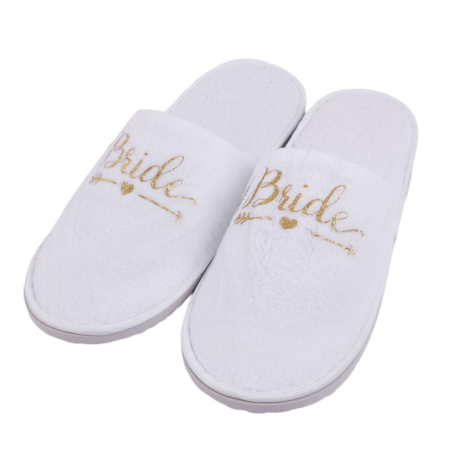 Hawiton Bride & Bridesmaind Wedding Slipper Party Slippers for Spa Gold Glitter by Hawiton