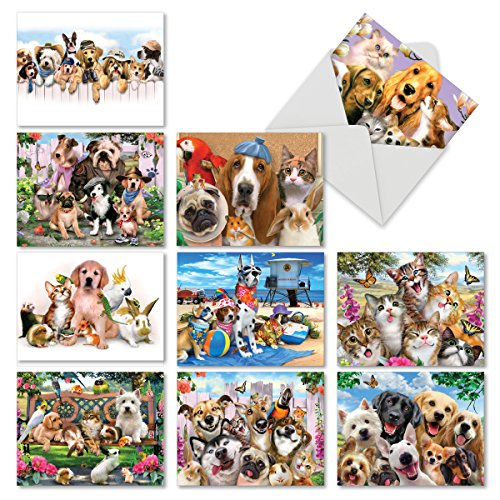 (10 Pet Note Cards with Envelopes 4 x 5.12 inch, Boxed Set of 'Off the Leash' Stationery Featuring Funny Dogs, Cats, Bunny - Blank Greeting Cards for Thank Yous, Birthdays, Holidays M6641OCB)