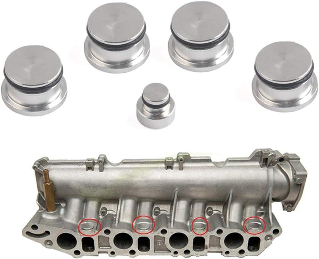 Sunnyflowk Aluminium Admission Automatique Collecteur Tourbillon Volet Bouchon Plug Kit Bouchons Pour Opel Pour Saab Pour Fiat Pour Alfa Romeo 1.9 Z19DTH Argent