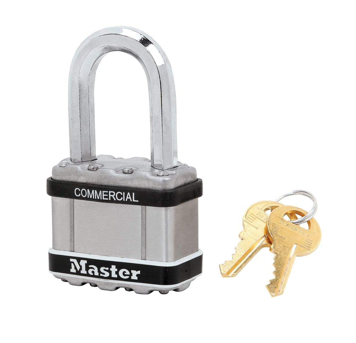 Master Lock Magnum Padlock - 2'' W x 1-1/2''L Shackle, One (1) Keyed Alike Lock M5NKASTSLF w/BumpStop Technology
